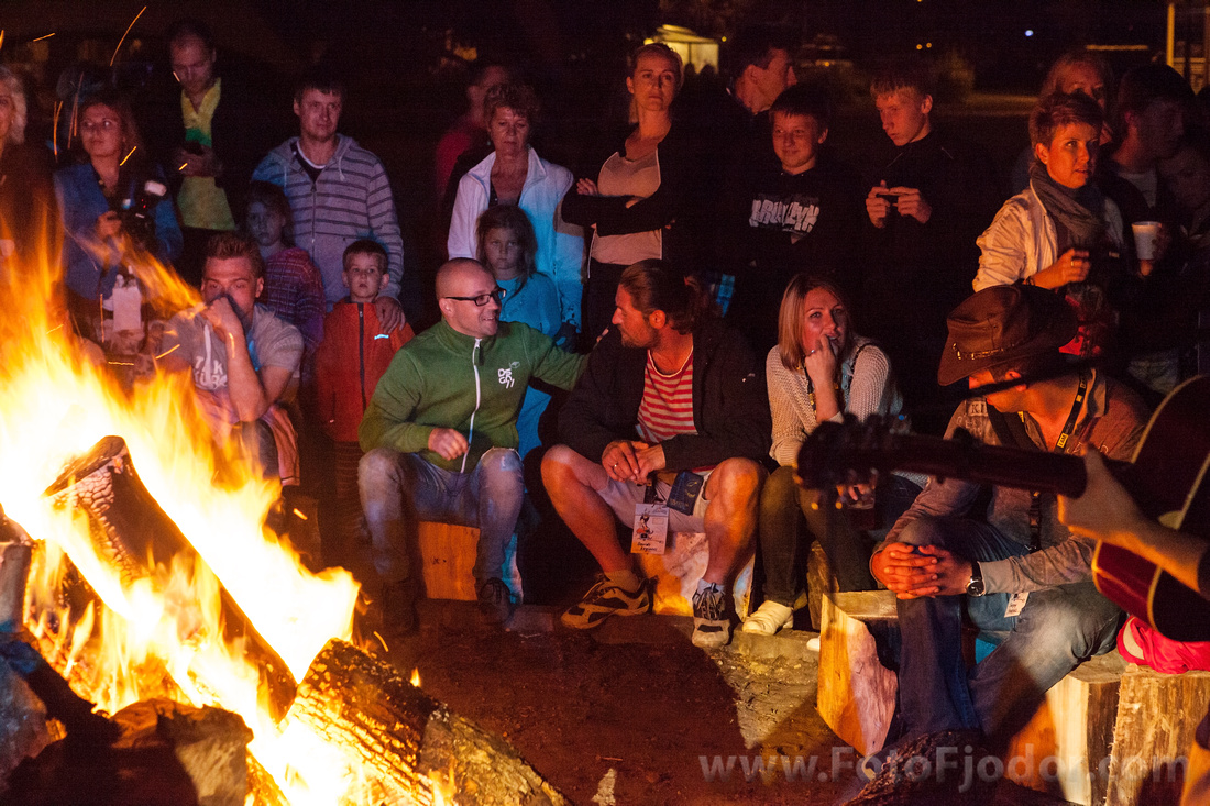 Camp-fire with guitar